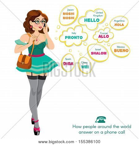 Beautiful, sexy woman talking on the phone. How people around the world answer on a phone call. The word