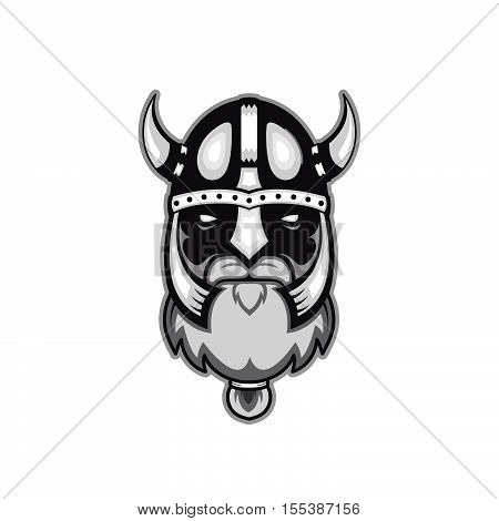 Old bearded vector viking warrior logo mascot template. viking head profile view angry sport team. isolated on white background