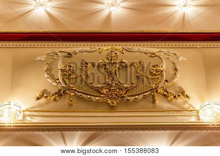 Classic decorative gypsum ornament on the ceiling