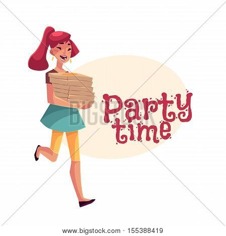 Young beautiful girl hurrying to party with a stack of pizza boxes, cartoon vector illustration isolated on white background. Greeting card, poster, banner design for birthday party with pizza boxes