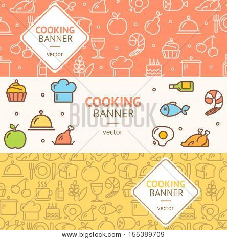 Cooking Banner Flyer Horizontal Set Thin Line Pixel Perfect Art. Material Design. Vector illustration