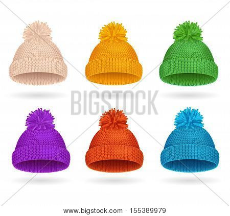 Knitted Color Hat Winter Set Fashion Accessory. Vector illustration