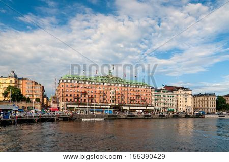 Stockholm Sweden - July 28 2010: Grand Hotel on July 28 2010 in Stockholm. Grand Hotel is a luxury hotel at Stockholm waterfront and the only Swedish hotel among The Leading Hotels of The World.