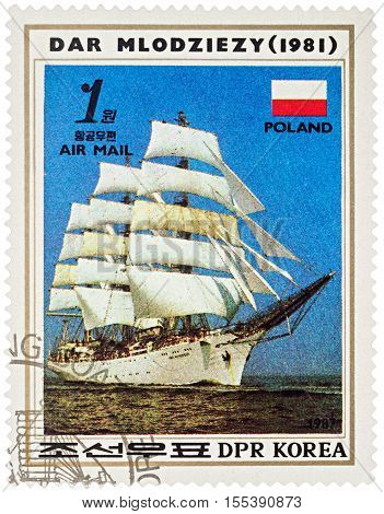 MOSCOW RUSSIA - NOVEMBER 04 2016: A stamp printed in DPRK (North Korea) shows image of Polish sail training ship