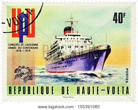 MOSCOW RUSSIA - NOVEMBER 06 2016: A stamp printed in Upper Volta (Burkina Faso) shows old cruise ship series