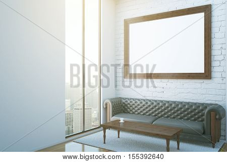 Interior With Frame, Couch And City View