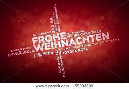 Multi language Merry Christmas typographic design. German text is in the middle of the page. Word Cloud in different languages. Vector illustration.