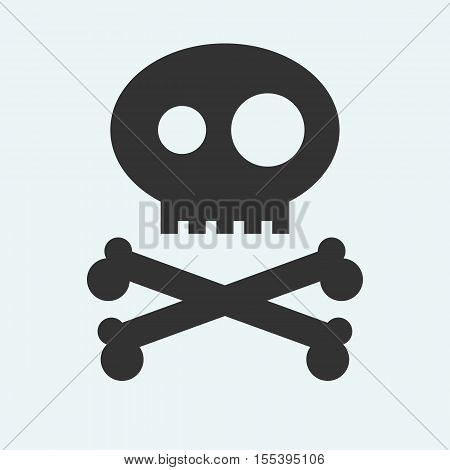 Icon of Jolly Roger symbol. Pirate, filibuster, corsair sign of crossed bones or crossbones and skull. Vector emblem