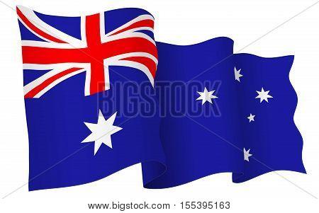 Australian flag waving - vector illustration isolated on white background.
