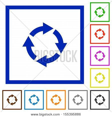 Rotate right flat color icons in square frames