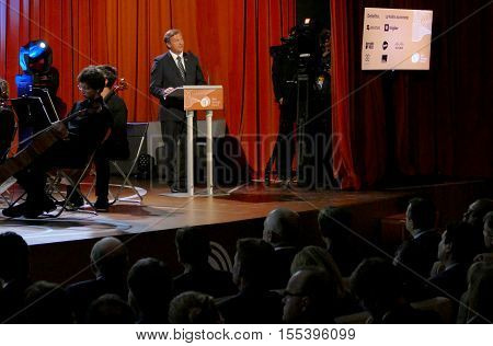 Bled Slovenia. September 5th 2016: Deputy Prime Minister and Minister of Foreign Affairs of Slovenia Karl Viktor Erjavec holds a speech at the opening ceremony of Business Bled Strategic Forum 2016