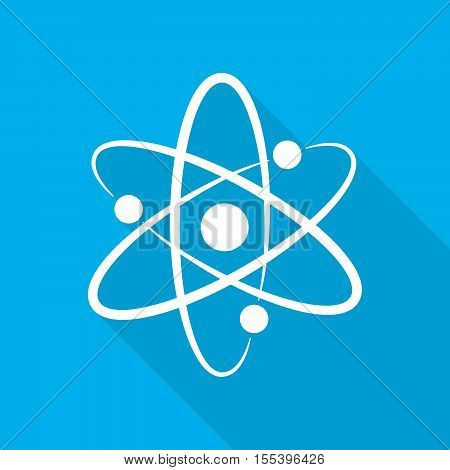 White molecule symbol or atom symbol with long shadow on blue background. Vector illustration.