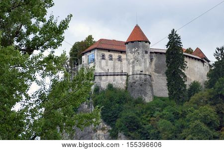 Bled Slovenia. September 5th 2016: Bled Castle built on top of a cliff overlooking lake Bled located in Bled Slovenia.