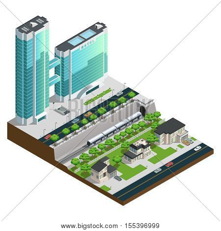 Isometric skyscrapers and suburban houses near railway tunnel composition vector illustration