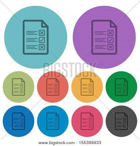 Questionnaire document flat icons on color round background.