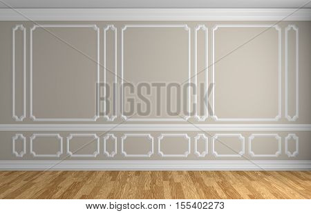 Beige wall with white decorative moldings elements on wall in classic style empty room with wooden parquet floor and white baseboard classic style architectural background 3d illustration interior