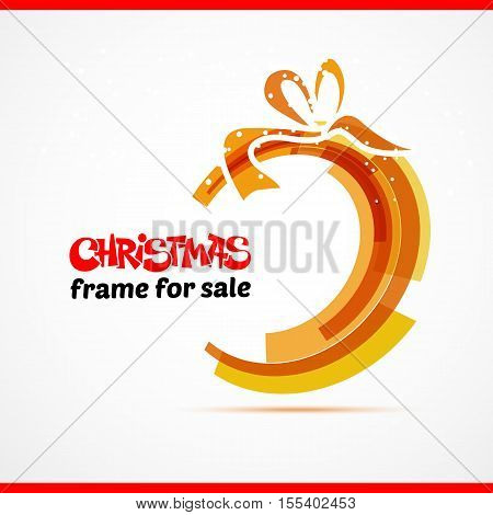 Surprise gift card with red ribbon and satin bow. Vector illustration. Circle and bow
