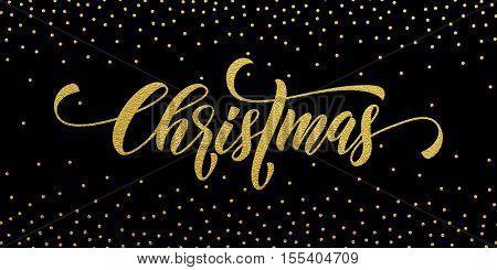 Merry Christmas gold glitter lettering design. Christmas greeting card, poster, banner. Vector golden glittering snow, snowflakes, white dots on black background