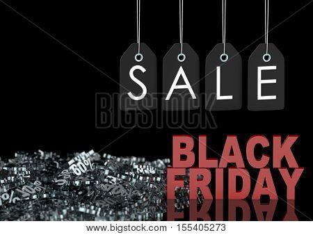 Black Friday Sale Background. Sale Lables, Black Friday Sign And Discounts Percentage, 3D Illustrati