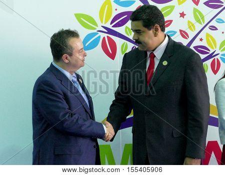 Porlamar Venezuela. September 17th 2016: Serbia's Foreign Minister Ivica Dacic and Venezuelan President Nicolas Maduro at the opening ceremony of the Non-Aligned Movement Summit in Porlamar Venezuela