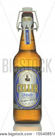 CIRCA OCTOBER 2016 - GDANSK: Celler urtrub beer isolated on white background. Celler pilsener is brewed in Brauerei Carl Betz in Celle, Lower Saxony, Germany.