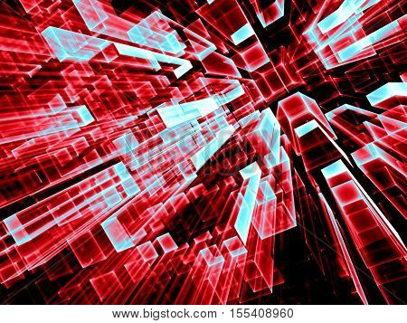 Geometric technology background - abstract computer-generated image. Fractal geometry: tending to the horizont glass parallelepipeds. Tech or virtual reality concept.