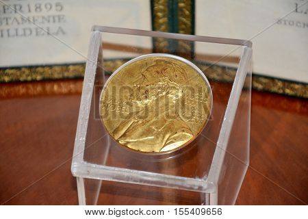 Belgrade Serbia. October 7th 2016 - Alfred Nobel on the Nobel Prize medal from 1961 year