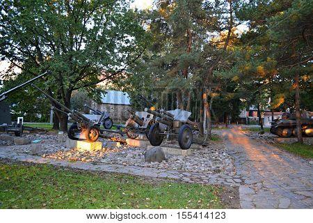 Cannon / Slovakia Banska Bystrica 28 September 2014 Memorial Military equipment of World War 2