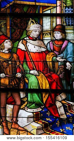 French King On A Throne - Stained Glass