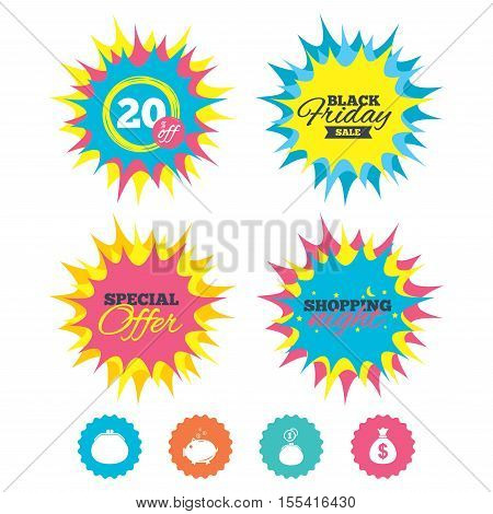 Shopping night, black friday stickers. Wallet with cash coin and piggy bank moneybox symbols. Dollar USD currency sign. Special offer. Vector