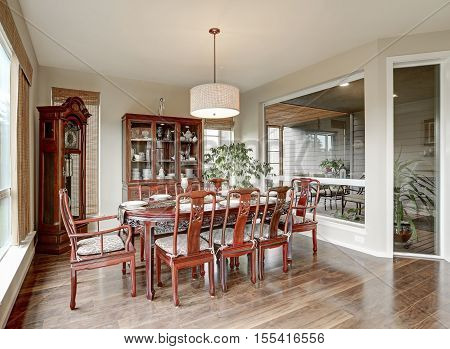 Classical Interior Of Dining Room In Luxurious House