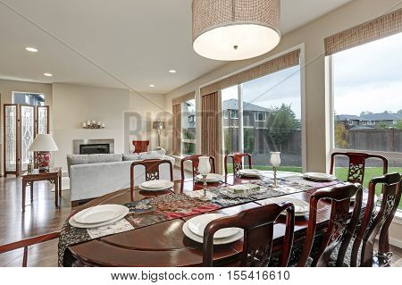 Close Up Of Vintage Dining Table In Luxurious House