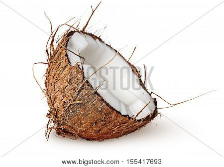 Half coconut rotated isolated on white background