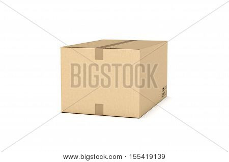 3d rendering of a light beige cardboard mail box taped with duct tape isolated on a white background, three quarters view. Postal services. Packing and crating. Storage of different products.