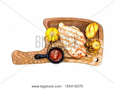 Top view grilled chicken breasts with roasted potato, corn cobs, ketchup barbecue sauce isolated on white background. Tasty grilled fillets meat on on wooden cutting board. American food concept.