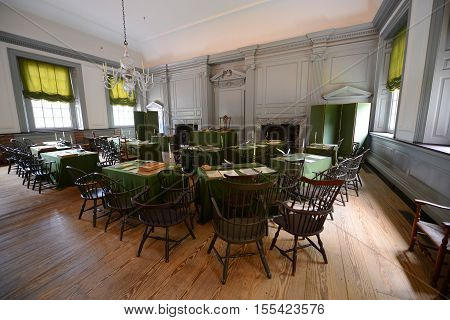 PHILADELPHIA - JUN 27, 2014: Assembly Room in Independence Hall in old town Philadelphia, Pennsylvania, USA. Both the Declaration of Independence and Constitution are signed in this room. Now Independence Hall is a UNESCO World Heritage Site.