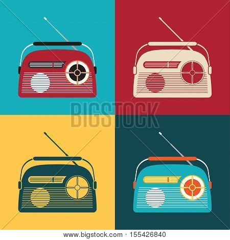 Vector icons set of vintage radio on the different color background.