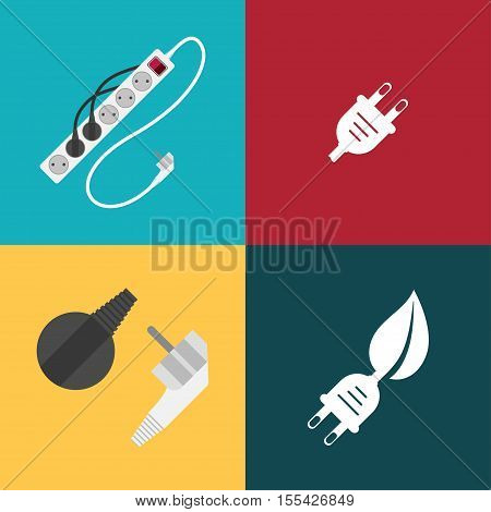Vector icons set of electric plugs and electric extension cord on the different color background.