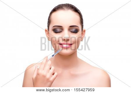Woman undergoing plastic surgery isolated on white