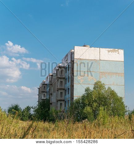 Abandoned apartment building, facade, unfinished house in Samara region