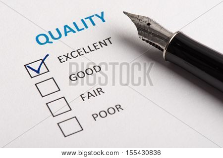 Quality Level Is Checked Excellent On Check Box