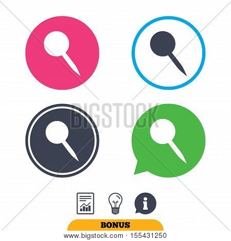 Pushpin sign icon. Pin button. Report document, information sign and light bulb icons. Vector