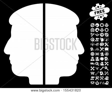 Dual Face pictograph with bonus settings images. Vector illustration style is flat iconic white symbols on black background.