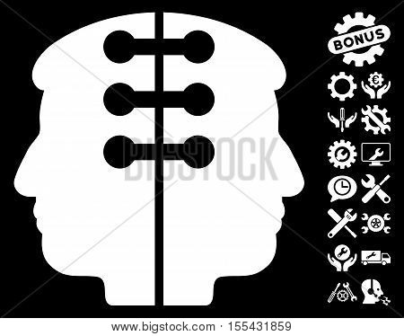 Dual Head Interface pictograph with bonus settings clip art. Vector illustration style is flat iconic white symbols on black background.