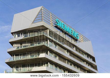 Prague, Czech Republic - November 7: Siemens Company Logo On Czech Headquarters On November 7, 2016