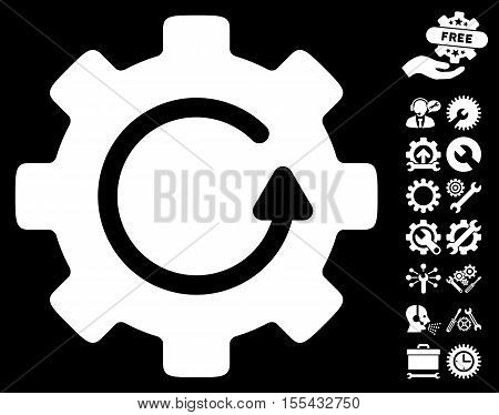 Gear Rotation pictograph with bonus configuration pictograph collection. Vector illustration style is flat iconic white symbols on black background.