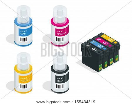 Isometric CMYK set of cartridges for ink jet printer and color chart. Empty refillable cartridges for colour inkjet printer isolated on white background