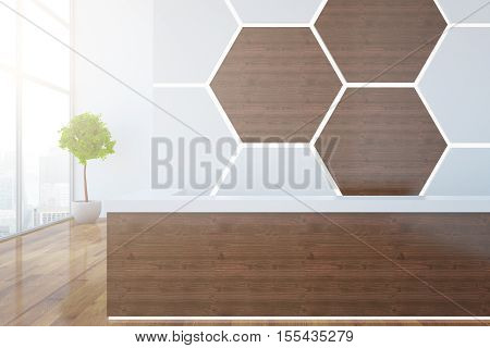 Wooden reception desk with honeycomb pattern on wall decorative plant and city view. 3D Rendering