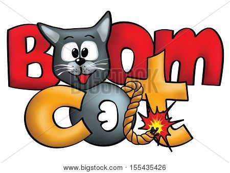 Bomb-like cat logo concept. Cat pretending to be bomb with lettering