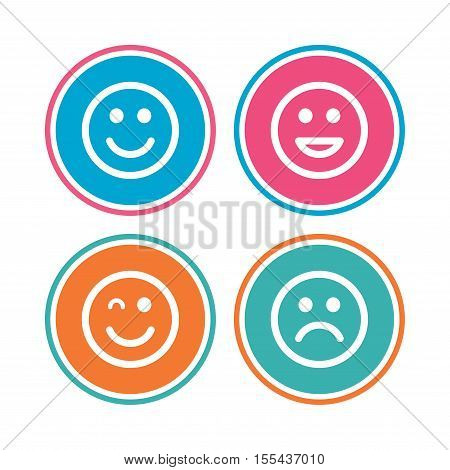 Smile icons. Happy, sad and wink faces symbol. Laughing lol smiley signs. Colored circle buttons. Vector